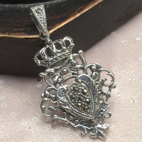 sterling silver marcasite crown pendant 2 quot from