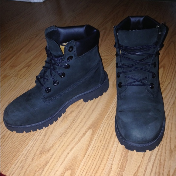 Black and gold timberland boots