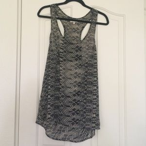 Silence + Noise Printed Sheer Tunic Tank Large