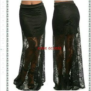 Boutique  Dresses & Skirts - Sexy New lace sheer mesh long maxi skirt