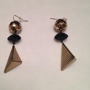 Gold Triangular Earrings