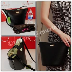 New Kate Spade black white leather bucket bag