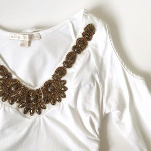 Jeweled & Ruched Boston Proper Top