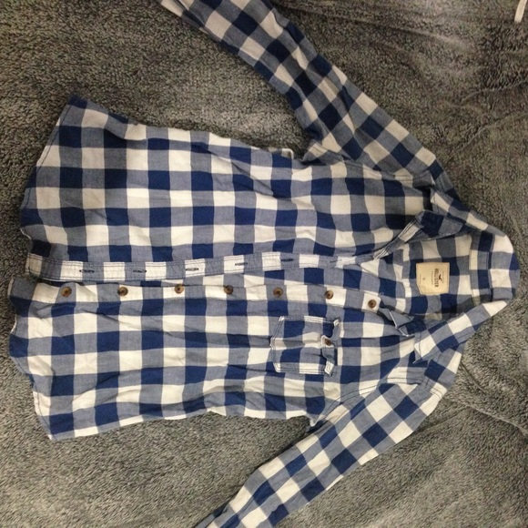 69 Off Hollister Tops Blue And White Flannel Plaid Long