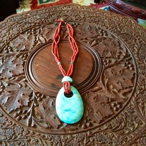 Beaded Necklace with Huge Stone Pendant