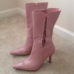 BP. Lace-Up Side Zipper Leather Mauve Pink Boots