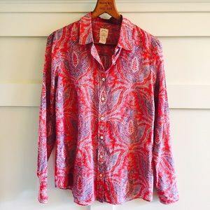 J. Crew Tops - J.Crew red paisley THE PERFECT SHIRT