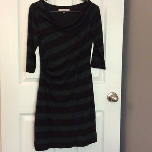 Black and green striped cowl neck dress