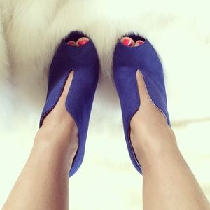 Christian Siriano Shoes - Navy Blue Suede Cut Out Peep Toe Heels