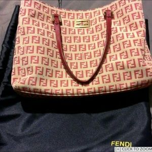 Auth red Fendi Tote