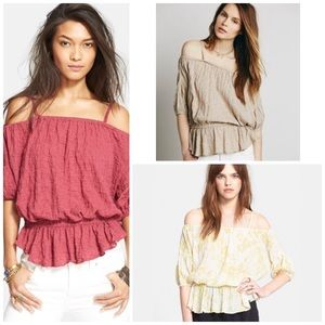 FREE PEOPLE Marled Cold Shoulder Crop Cape Top NWT