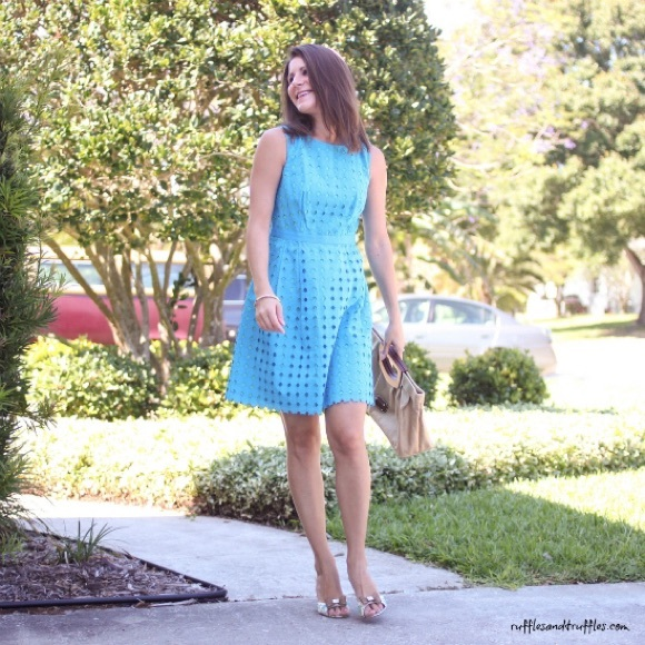 LOFT Dresses & Skirts - Bright blue eyelet sundress