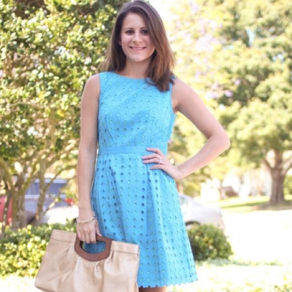LOFT Dresses - Bright blue eyelet sundress