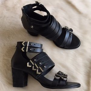 Shellys London  Shoes - Black Leather Buckle Block Sandals