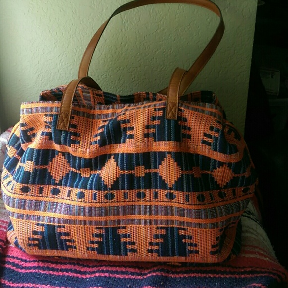 Sole Society Bags Orange Blue Aztec Print Weekender Bag