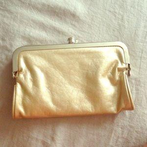Gold flap clutch wallet