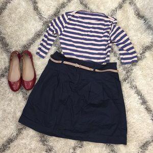 Zara Basic blue skirt with cream belt, XL