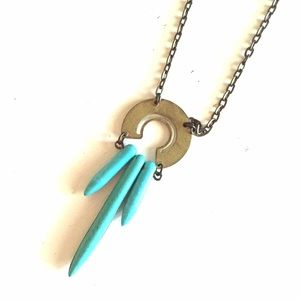 Jewelry - Long brass and turquoise necklace (Jewelmint)