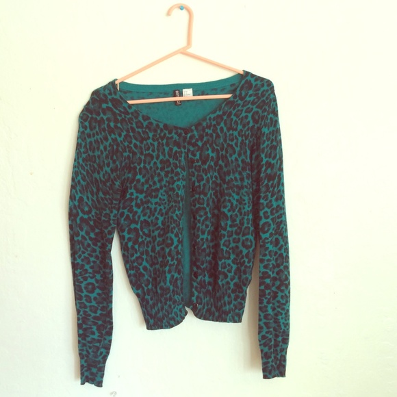 68% off H&M Sweaters - Teal Leopard Print H&M Cardigan from ...