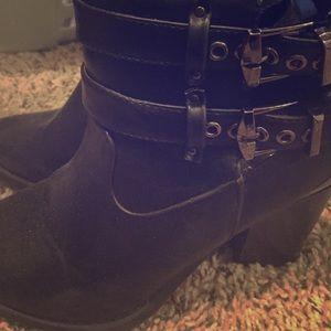 Black booties.