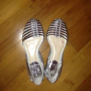 Caprio Metallic Leather Woven Flats