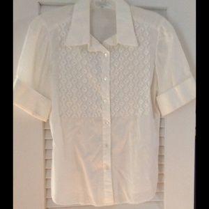 Tops - Vintage inspired short sleeve white blouse.
