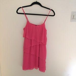 H&M Coral Pink Asymmetric Tiered Tank Dress