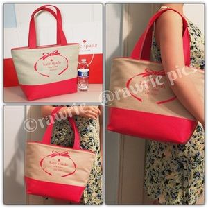 New Kate Spade logo canvas tote coral