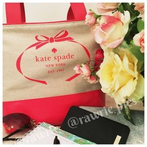 CLEARANCE New Kate Spade logo canvas tote coral