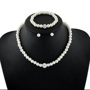 Pearl design Women Necklace Earrings Bracelet set