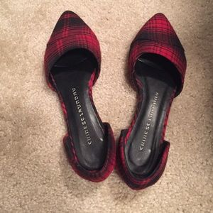 Chinese laundry red and black checked flats