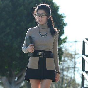 Rachel Roy Dresses & Skirts - Black Skirt with Beige Front Pockets - Zip Front