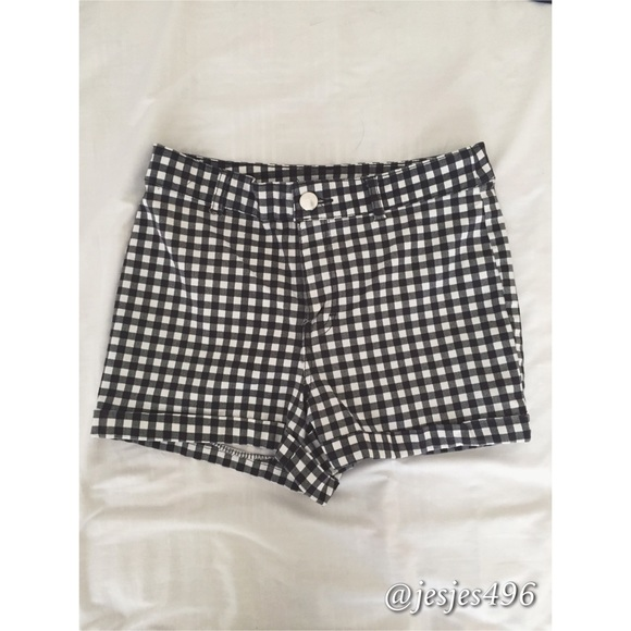 72% off American Apparel Pants - CHECKERED HIGH WAISTED SHORTS ...