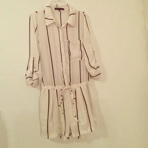 White Romper with Black Vertical Stripes
