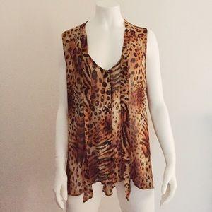 Tops - Sheer Leopard Asymmetrical Sleeveless Top w/ Ties