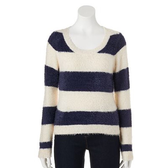 68% off Lauren Conrad Sweaters - Fuzzy Navy & Cream Striped ...