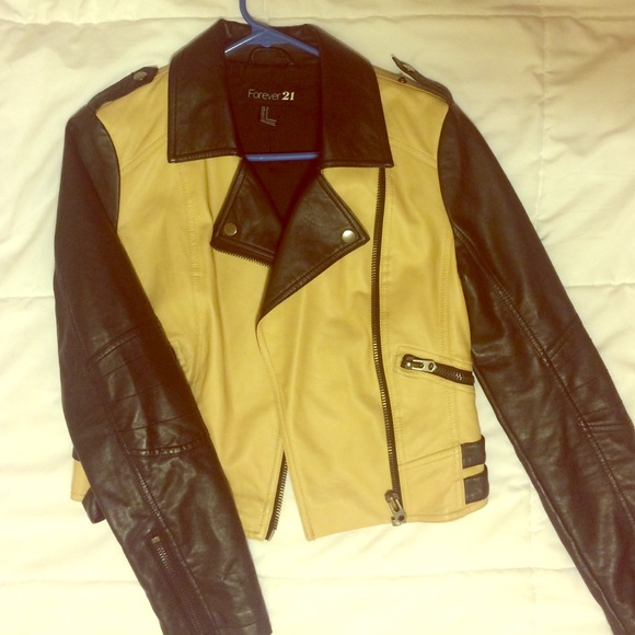 40% off Forever 21 Jackets & Blazers - Black and Tan leather ...