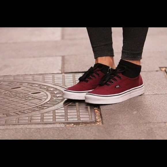 dark red vans authentic