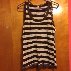 Brown and white striped tank top