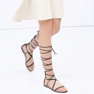 Shoes - Lace up tie flat gladiator sandals
