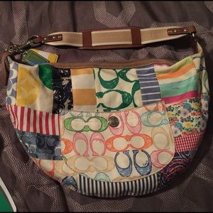 COACH Multi-color Scribble Patch Large Hobo.