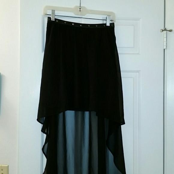 forever 21 black studded waist hi low sheer skirt medium