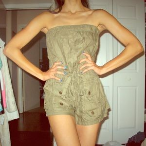 Military inspired tunic tube top romper size small