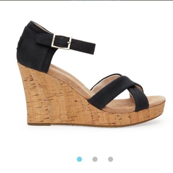 7d7f7ae361b Toms wedge sandals black 8