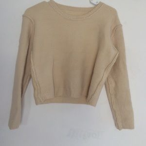 Ivory Wool-like Cropped Sweater Size Small