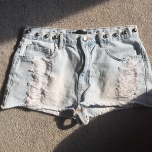high waisted studded jean shorts