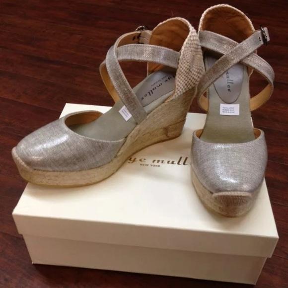 21ec0918286 Designer Grey Espadrille Wedge Sandals Sz. 8 NWT