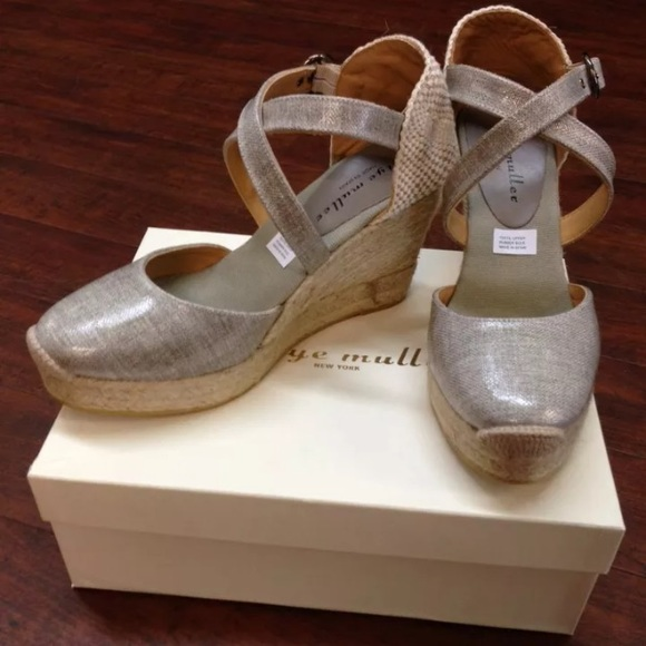 76ea929e947 Designer Grey Espadrille Wedge Sandals Sz. 10