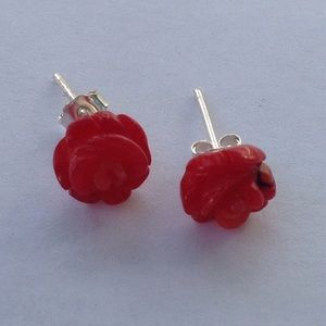 Sterling Coral Post Earrings
