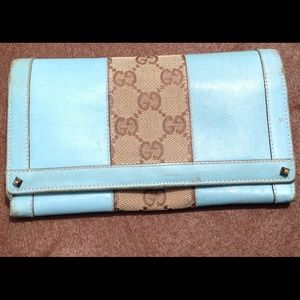 Gucci Turquoise Blue Leather Brown Canvas Wallet